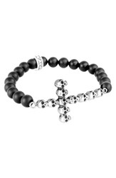 King Baby Studio Men's Skull Cross Bead Bracelet
