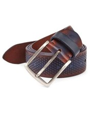 Saks Fifth Avenue Collection Triangle Imprint Leather Belt Blue Brown