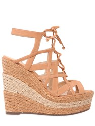 Schutz 130Mm Suede Two Tone Rope Lace Up Sandal