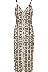 Alice Olivia Arlette Beaded Tulle Midi Dress Black