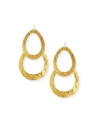 Devon Leigh Double Wedge Hammered Drop Earrings Gold