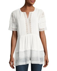 Willow And Clay Lace Inset Peasant Blouse White