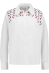Tanya Taylor Vivienne Embroidered Cotton Blend Poplin Shirt