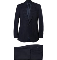 Kingsman Navy Slim Fit Single Breasted Pinstriped Cotton Suit