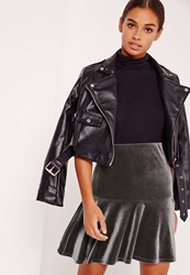 Missguided Frill Hem Velvet Mini Skirt Grey Grey