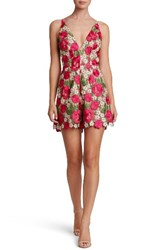 Dress The Population Women's Ellie Plunge Romper Fuchsia Green Floral