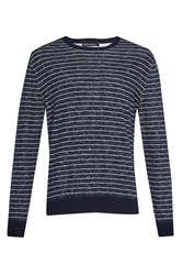 French Connection Men's Plaited Stripe Knit Jumper Navy