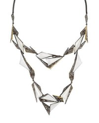 Alexis Bittar Two Tone Crystal Encrusted Long Origami Station Necklace Silver