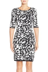 Tahari Pattern Body Con Sweater Dress Petite Black