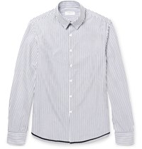 Tomorrowland Slim Fit Contrast Tipped Striped Cotton Poplin Shirt White