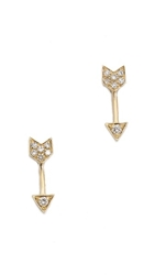 Ef Collection Diamond Mini Arrow Stud Earrings Yellow Gold Clear