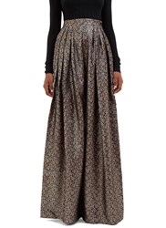 Maison Rabih Kayrouz Metallic Floral Brocade Wide Leg Pleat Pants Black