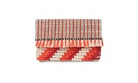 Whistles Woven Fringed Clutch Orange