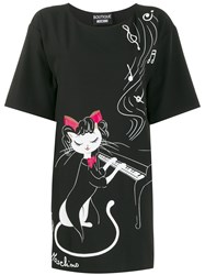 Boutique Moschino Piano Cat T Shirt Dress Black