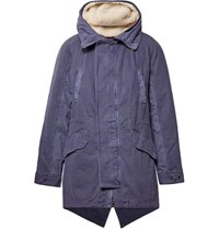 Yves Salomon Shearling Trimmed Cotton Hooded Parka With Detachable Down Lining Indigo