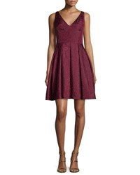 Erin Fetherston Coco Sleeveless V Neck Fit And Flare Dress Crimson