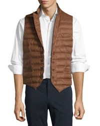 Brunello Cucinelli Super Light Quilted Puffer Vest Tobacco Blue