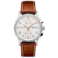 Hamilton H32576515 'S Jazzmaster Maestro Automatic Day Date Chronograph Leather Strap Watch Tan White