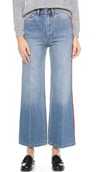 Marc By Marc Jacobs Crop Wide Leg Jeans Authentic Blue With Piping