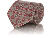 Fairfax Medallion Print Silk Twill Necktie Red