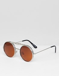 Spitfire Lennon Flip Up Round Sunglasses In Silver And Brown