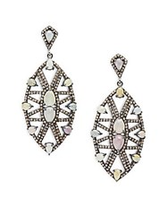 Bavna Diamond Sapphire And Sterling Silver Drop Earrings
