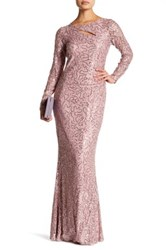 Marina Front Cutout Embellished Long Dress Pink