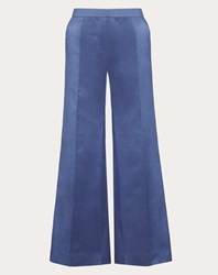 Valentino Duchesse Silk Trousers Dark Air Force Blue Silk 100