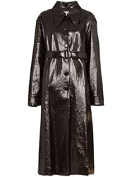 Christophe Lemaire Single Breasted Trench Coat Brown