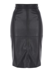 Jane Norman Pu Pencil Skirt Black