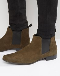 Asos Chelsea Boots In Khaki Suede With Back Pull Khaki Green