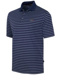 Greg Norman For Tasso Elba 5 Iron Performance Striped Golf Polo Night Sky