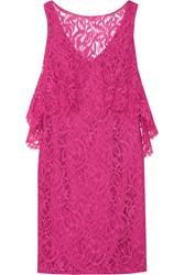 Theia Layered Lace Dress Pink