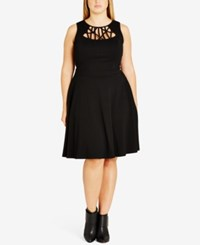 City Chic Trendy Plus Size Cutout Skater Dress Black