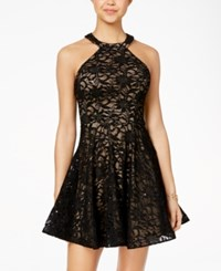 B. Darlin B Juniors' Sequined Lace Fit And Flare Dress Black