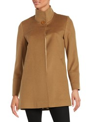 Fleurette Wool Mock Collar Coat Beige