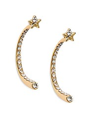 Saks Fifth Avenue Crystal Star Curved Drop Earrings Gold