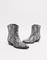 Bershka Cowboy Ankle Boot In Snake Multi