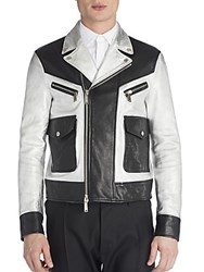 Viktor And Rolf Leather Two Toned Jacket Multicolor