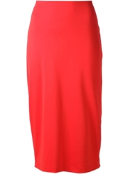 T By Alexander Wang Fitted Midi Skirt Red