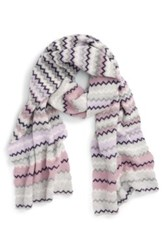Halogen Chevron Stripe Cashmere Muffler Purple