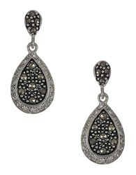 Lord And Taylor Sterling Silver Marcasite Teardrop Earrings Black Silver