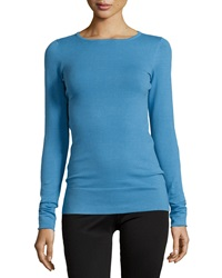 Minnie Rose Crewneck Long Sleeve Sweater Blue