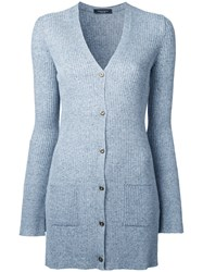 Roberto Collina Ribbed Fitted Cardigan Blue