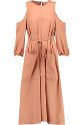 Tibi Winston Cutout Wool Midi Dress Baby Pink
