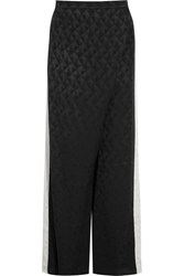 Zeus Dione Alcyone Wrap Effect Silk Jacquard Wide Leg Pants Black