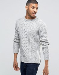 Bellfield Flecked Cable Knitted Jumper Ecru White