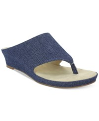 Tahari Mindy Wedge Thong Sandals Women's Shoes Blue Denim
