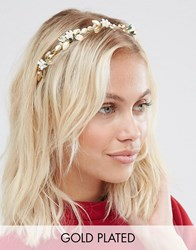 Neve And Eve Floral Leaf Embellished Headband Gold