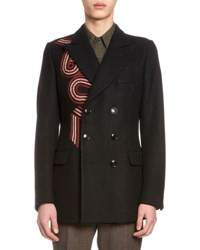 Dries Van Noten Brodie Embroidered Double Breasted Coat Navy